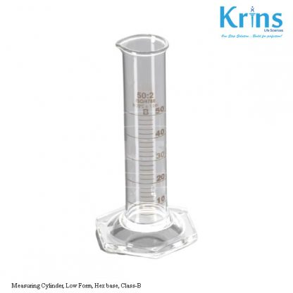 measuring cylinder, low form, hex base, class b